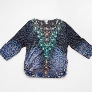 Chico's Leopard and Jewel Print Blouse